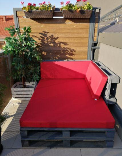Poduszki ogrodowe na palety wykonane na wymiar czerwone